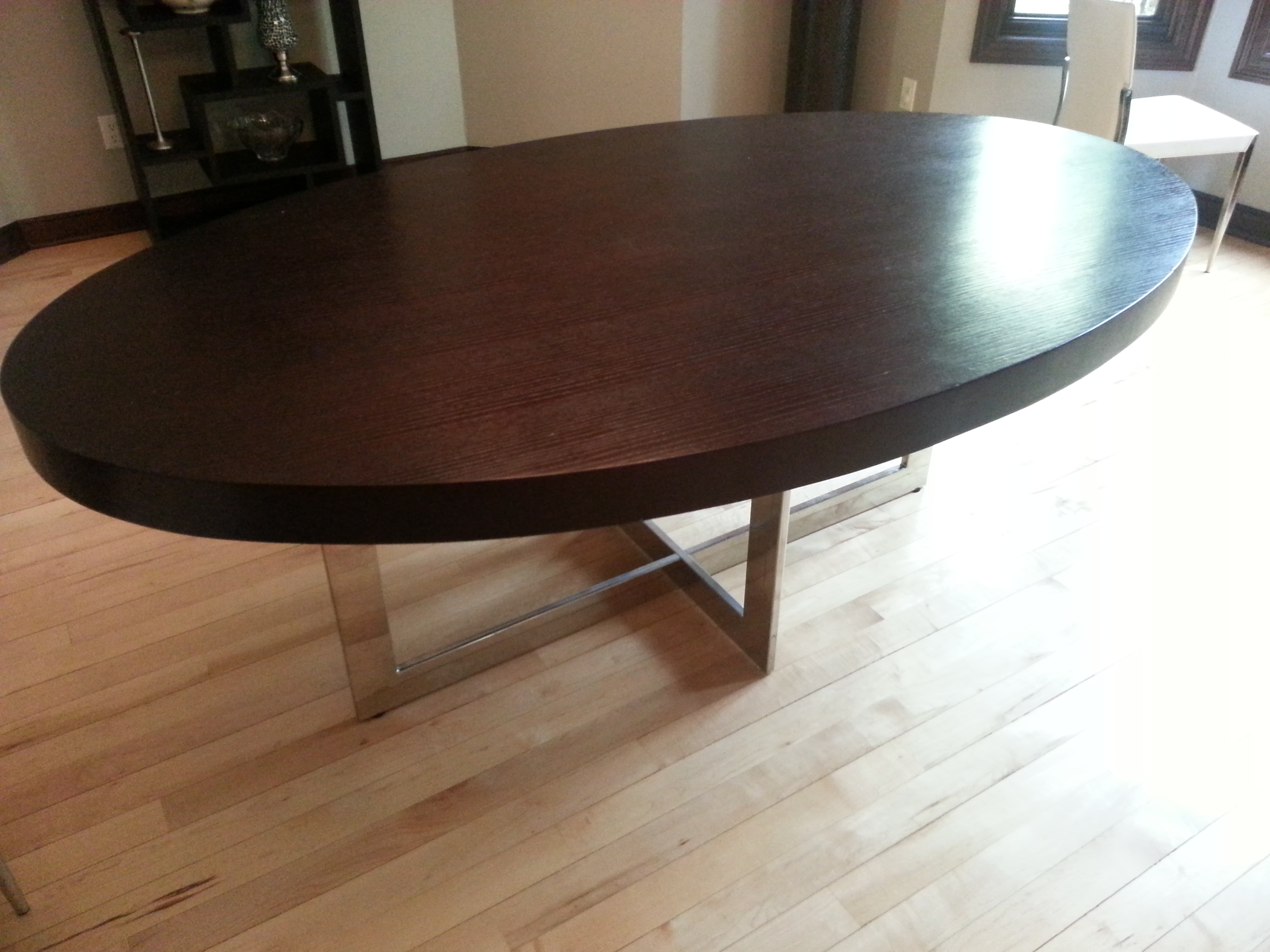 Contemporary large oval dark wood dining table with for Large dark wood dining table